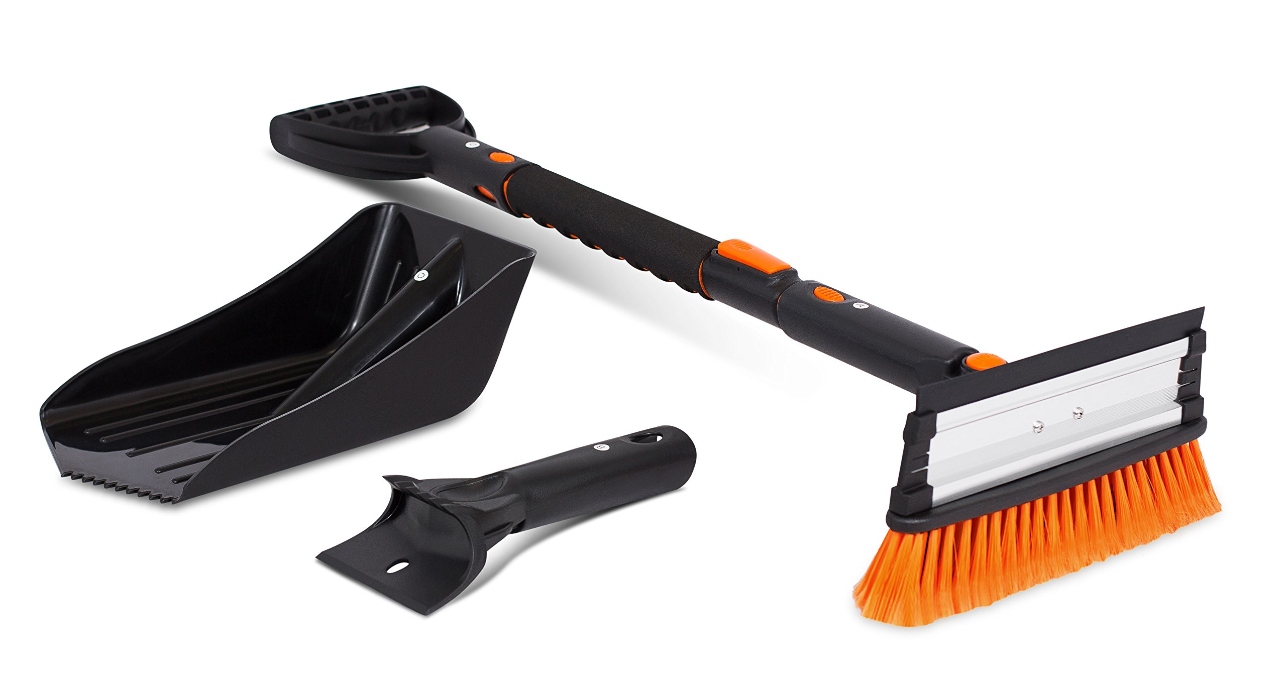 Snow Moover 39'' Extendable Snow Brush with Squeegee, Ice Scraper & Emergency Snow Shovel   Foam Grip   Auto Snow Brush   Auto Ice Scraper   Car Truck SUV