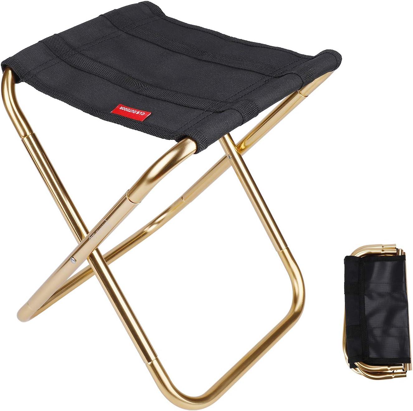 MengH SHOP Tabouret Pliant de Camping Mini Tabouret Chaise de Camping Siege Assise Pliant Portable pour Pêche Randonnée BBQ Voyage Noir