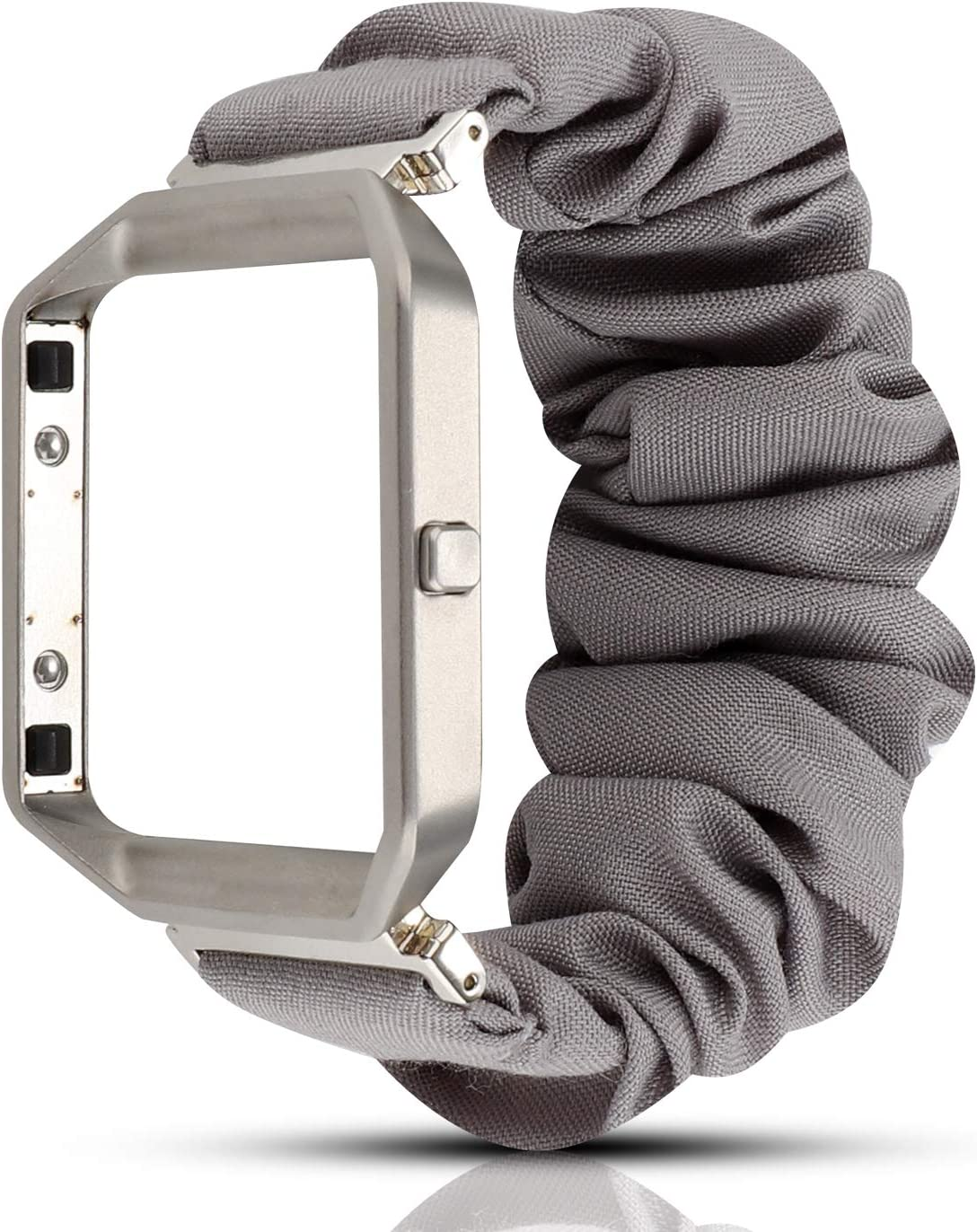 YOSWAN Scrunchie Elastic Band Compatible with Fitbit Blaze Smartwatch Fitness,Clothing Wrist Strap with Metal Frame Replacement for Blaze Men Women (Gray)