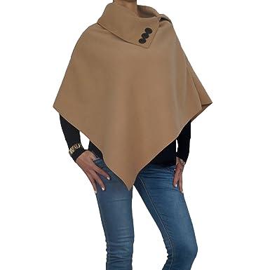 37410ccb2016ae Damen Fleece Poncho mit Reverskragen und Zierknopfleiste in graun, beige und  schwarz (One Size