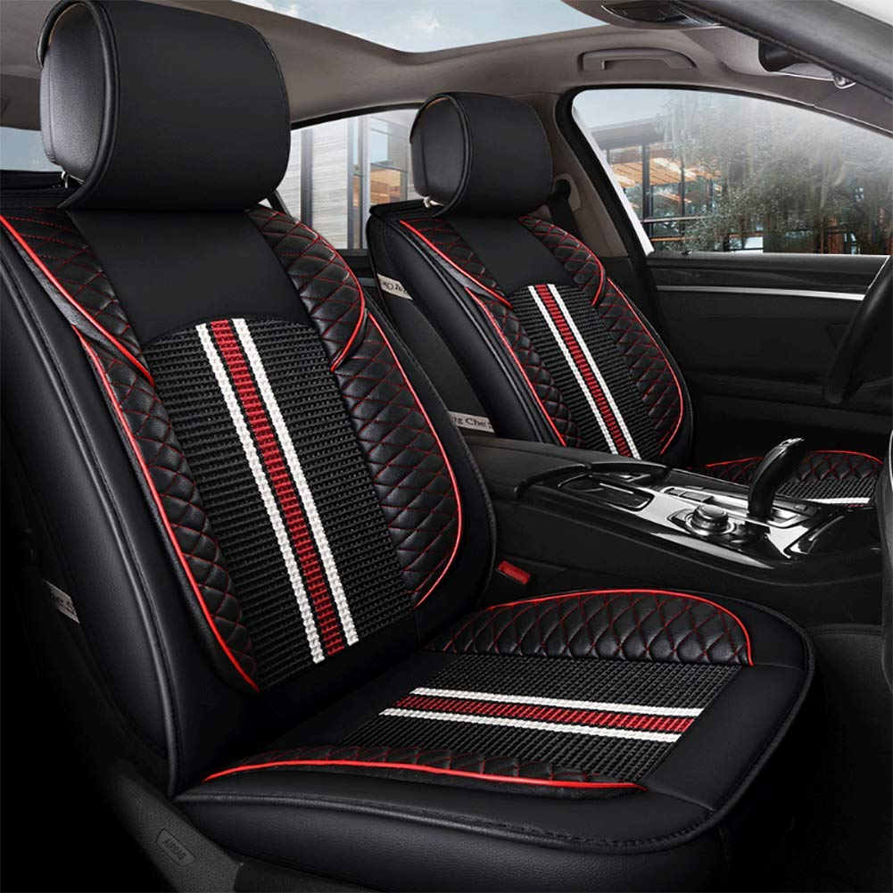 DeluxeEdition Free Wash Leather Seat Cushion Four Seasons Universal Car Seat Cover Car Accessories (Black Red)