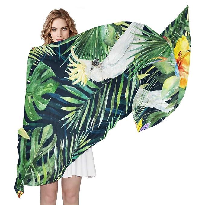 DEZIRO Shawl Scarf Green Palm Leaves White Cockatoo Bird Women Scarves Shawl Wrap