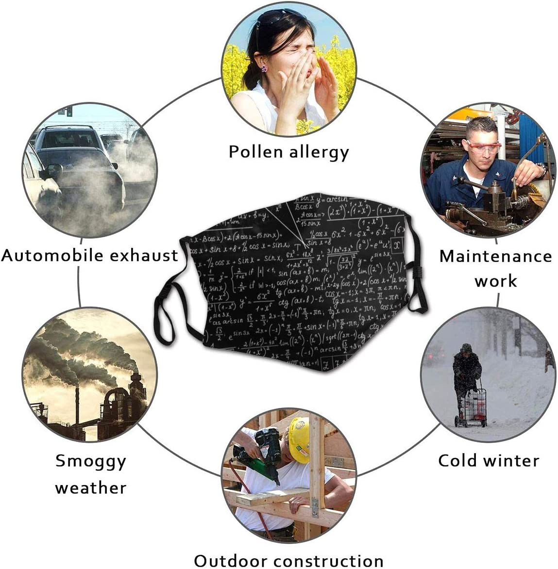 Complex Equations Unisex/Winter/Fleece/Neck/Warmer/Gaiters/Hairband/Cold/Weather/Tube/Face//Ma-sk/Thermal/Neck/Scarf