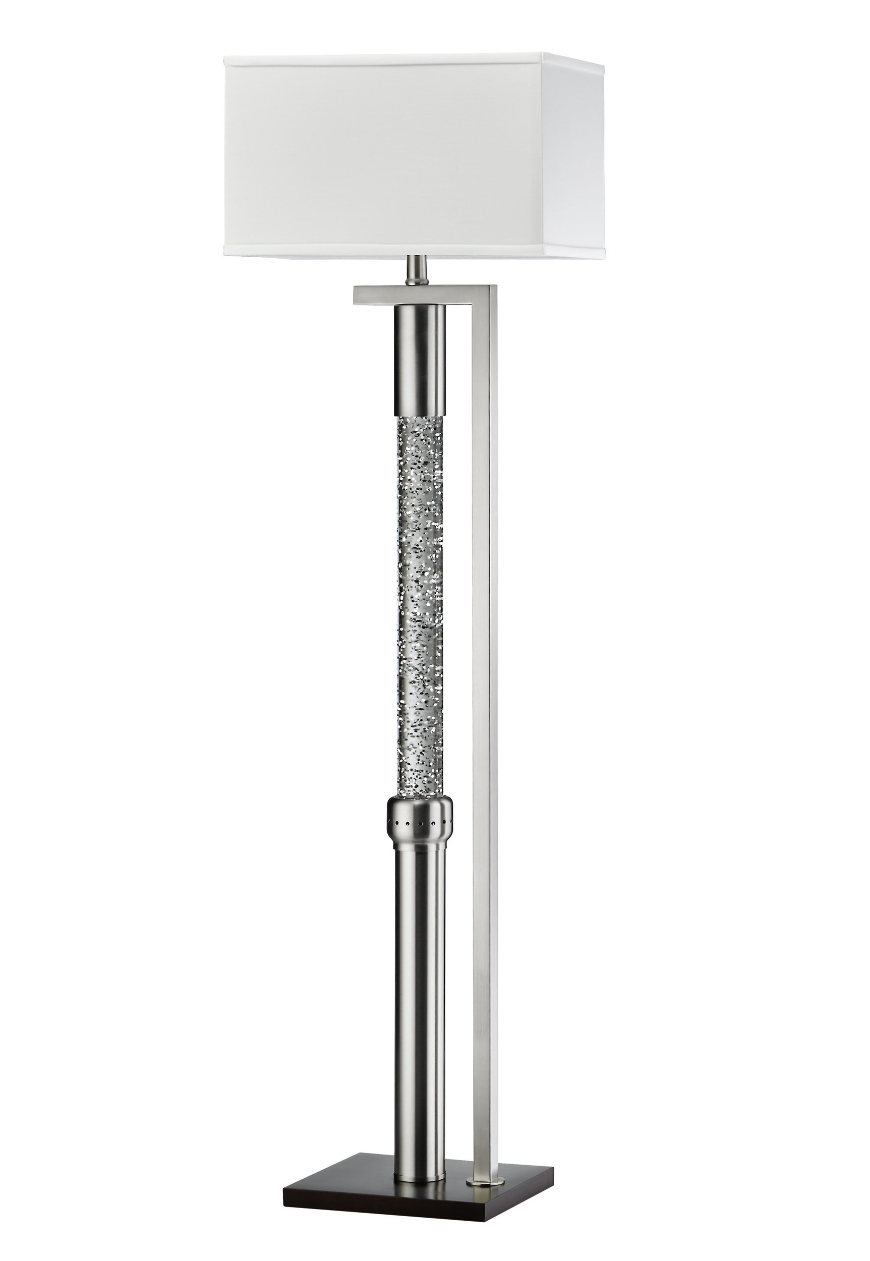 Homelegance Satin Nickel Metal Finish Floor lamp with Reverse L-Shaped Frame Sparkling Decorative Drop Dancing Water Mood, Night Light by Homelegance