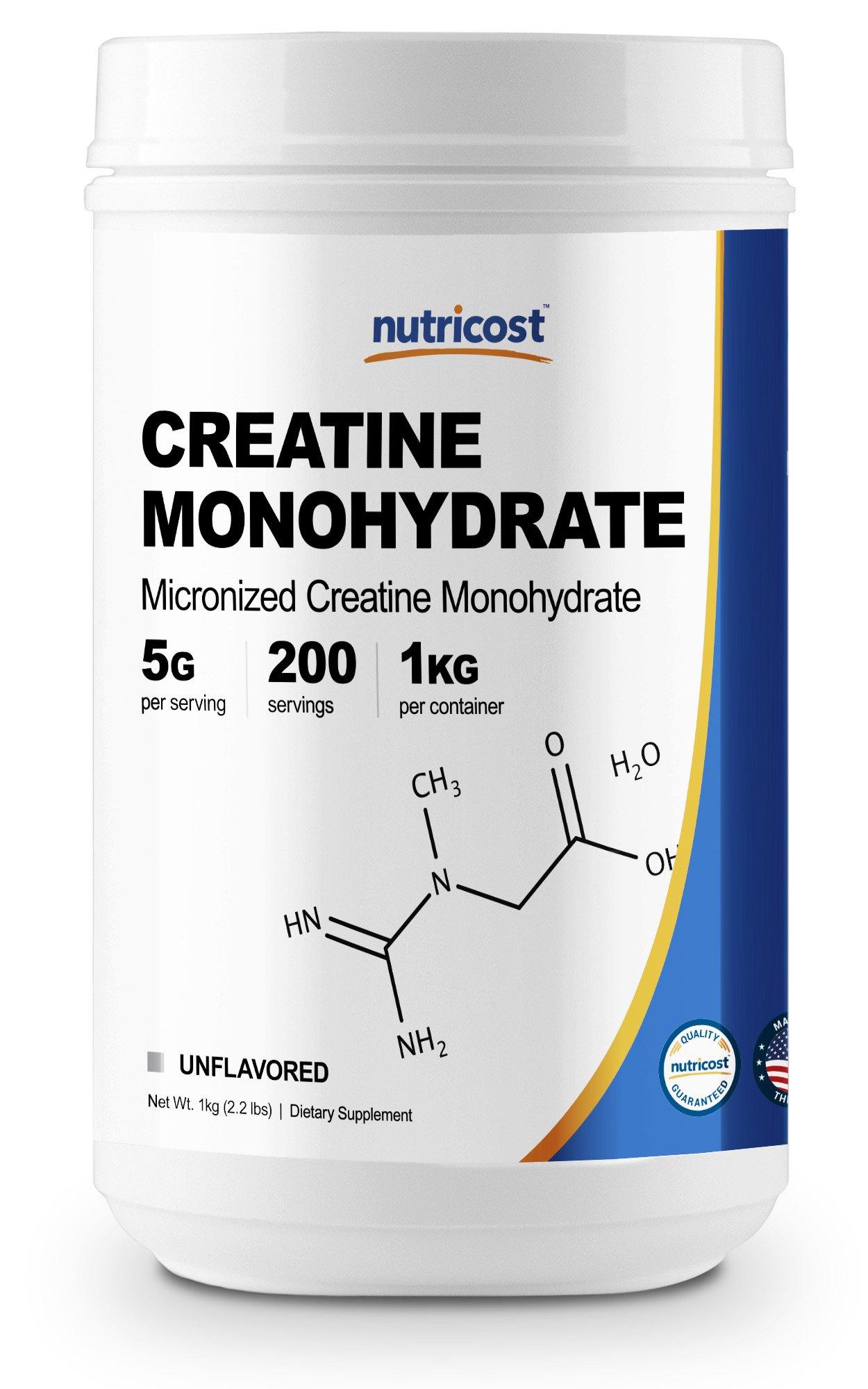 Nutricost Creatine Monohydrate Micronized Powder (1 KG) - Pure Creatine Monohydrate by Nutricost
