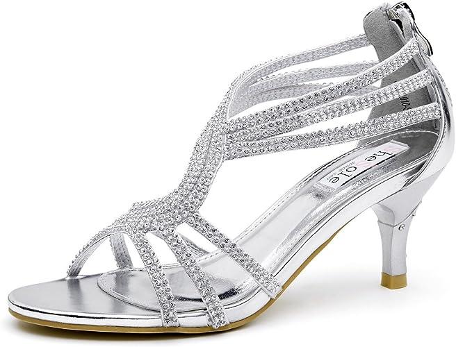 SheSole Damen Sandaletten – Klassische Damen Schuhe mit Strasssteinen, modische Riemchensandalen als High Heels mit Absatz
