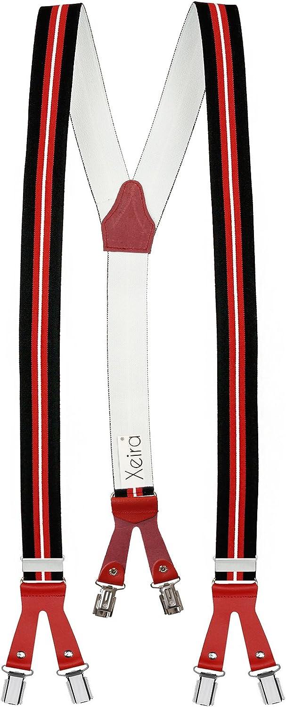 Stripes Design- XXXL 140cm - Motif de Cuir Bande longueur Fabriqu/é en Allemagne Xeira /® Bretelles de haute qualit/é avec 6 clips