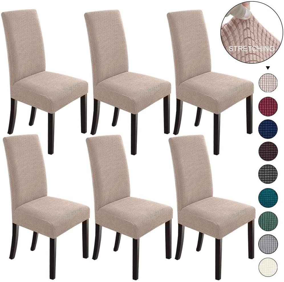Amazon Com Northern Brothers Dining Room Chair Slipcovers Dining Chair Covers Parsons Chair Slipcover Stretch Chair Covers For Dining Room Set Of 6 Khaki Home Kitchen
