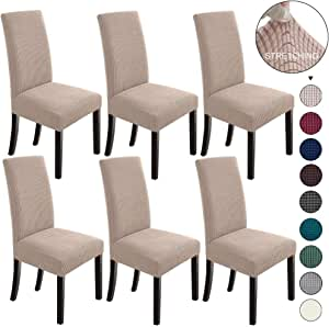 NORTHERN BROTHERS Dining Room Chair Covers Set of 6 Dining Chair Slipcover Stretch Chair Covers Slipcovers for Dining Room Chairs Khaki