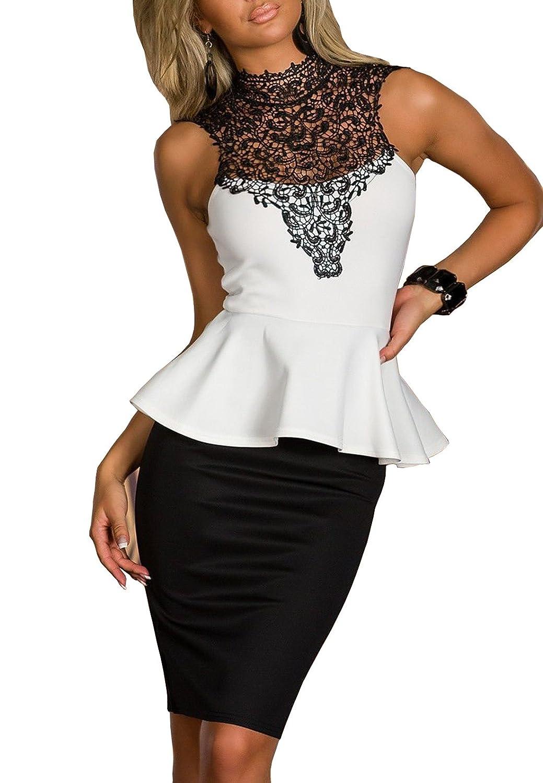 TALLA L. Boliyda Bodycan de corte bajo vestido delgado Slim club vestido informal para las mujeres Negro&blanco L
