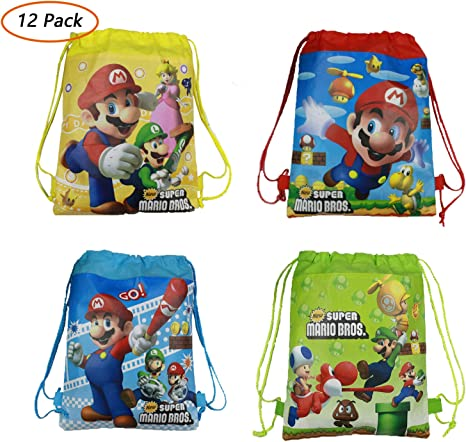 Amazon.com: Paquete de 12 bolsas de regalo de Super Mario no ...