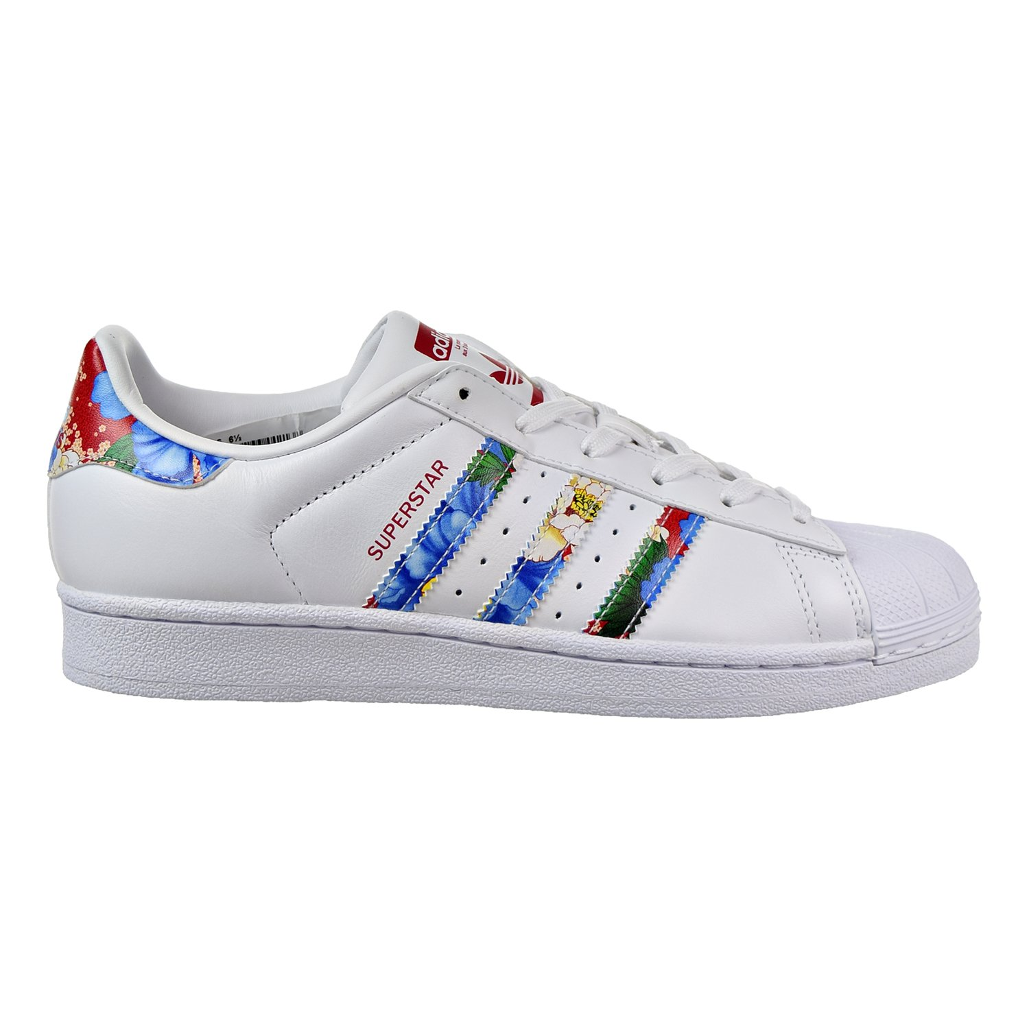 Adidas Women's Superstar White/Red/Multi Color Fashion Sneakers (6.5)