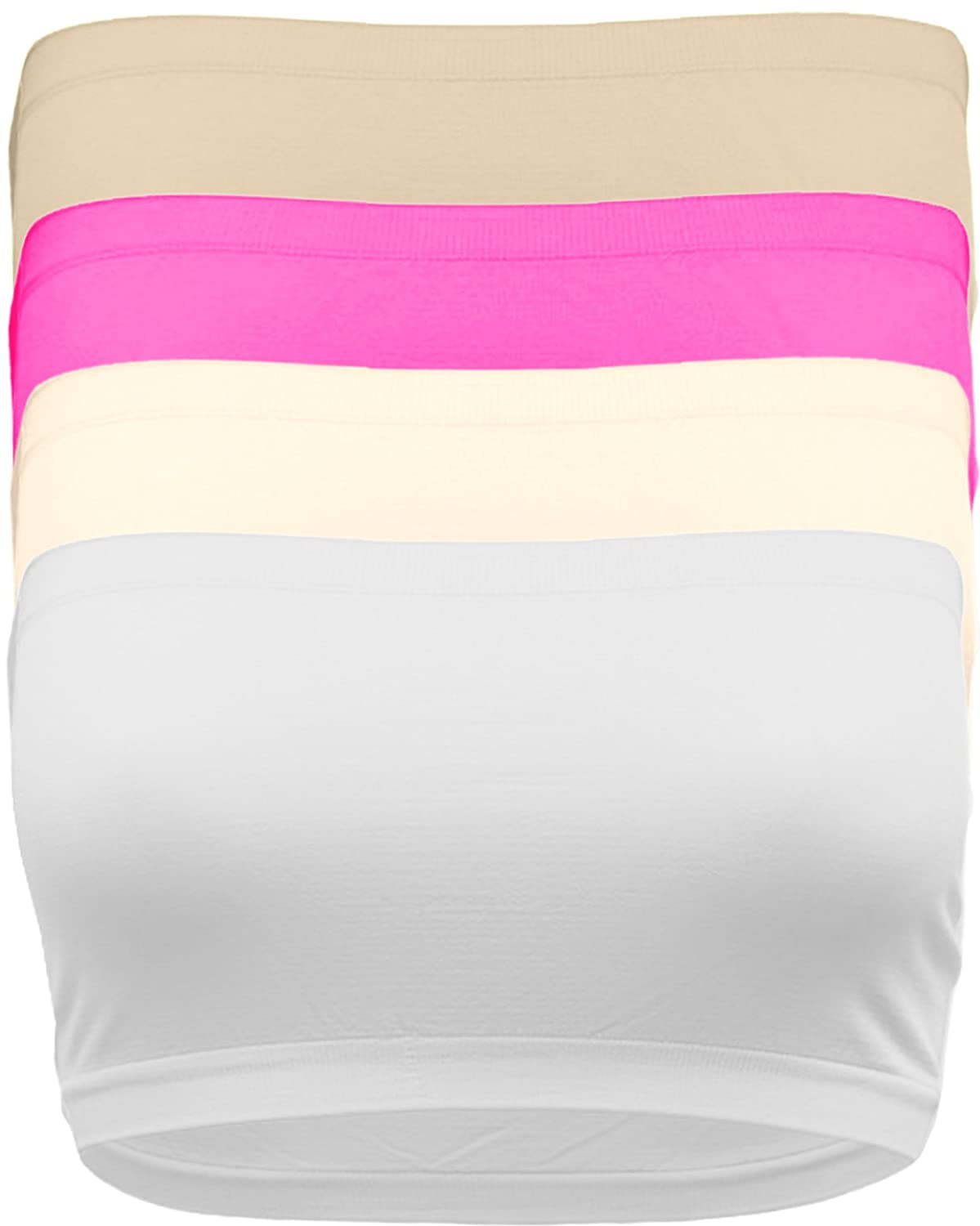 ViiViiKay Womens Stretchy No-Pad 8 inch Bandeau Tube Bras One Size /& Plus Size