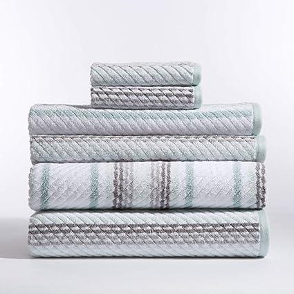 6 piezas Juego de toallas, diseño de rayas, azul blanco Plaid Cabana patrón de