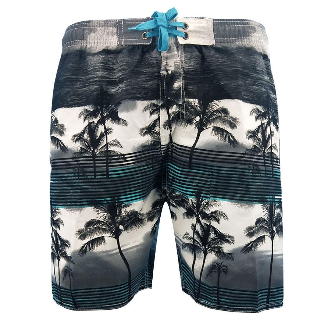 Challyhope Mens Printed Boardshorts Quick Dry Beach Swim Trunks Shorts Casual Pants