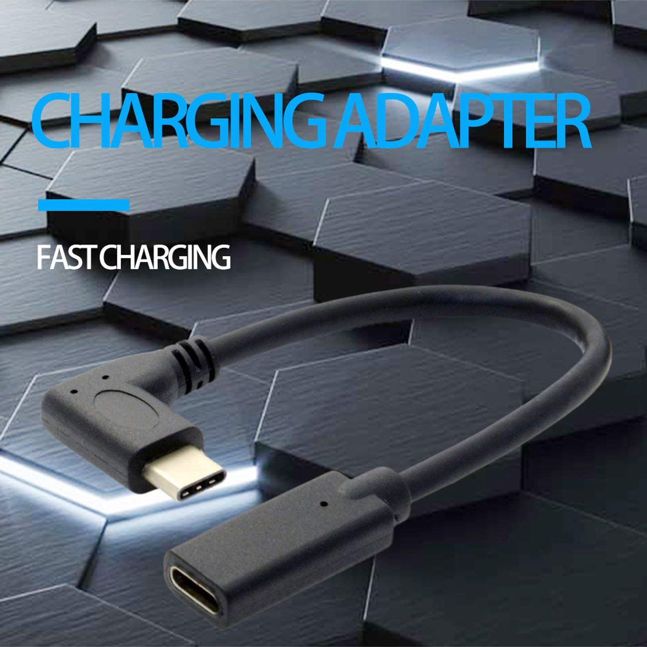 0.3 Meters Reversible Design Type C USB 3.1 90 Degree Male to USB-C Female Extension Data Cable Extender Cord Black