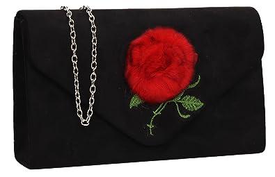 bacc00962e Poppy Faux Fur Suede Flapover Clutch Bag - Black  Amazon.co.uk ...