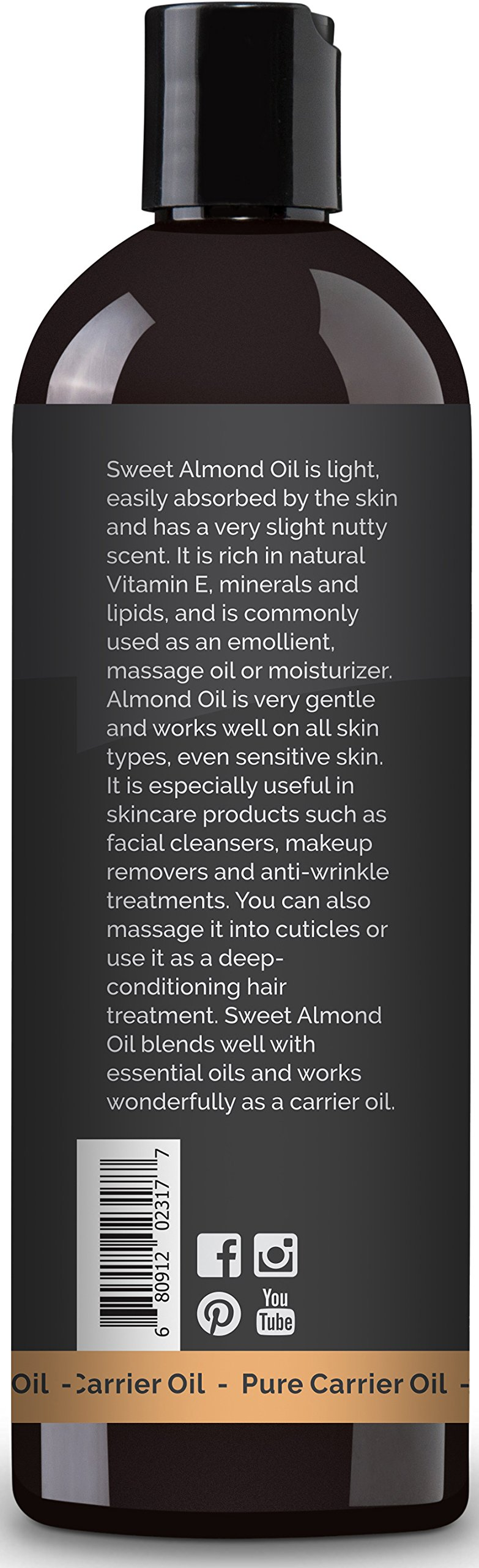 Plant Therapy Sweet Almond Carrier Oil + PUMP. A Base Oil for Aromatherapy, Essential Oil or Massage Use. 16 oz. by Plant Therapy (Image #4)