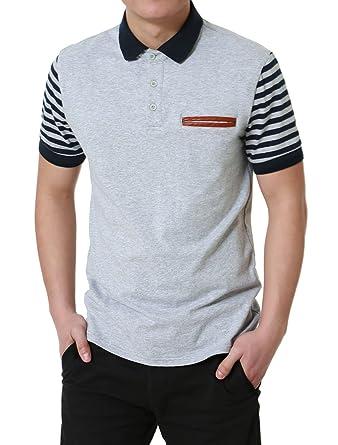 Sourcingmap Camisa Polo De Manga Corta A Rayas para Hombre Color ...