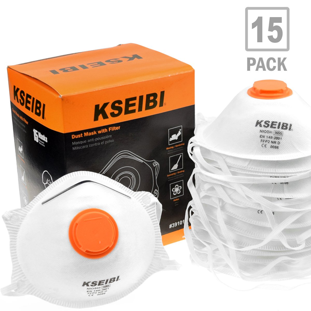 KSEIBI 391015 Safety Particulate Respirator N95 Series W Valve and Adjustable Foam Nose Cushion Dust Mask (15 Pack) by KSEIBI (Image #1)