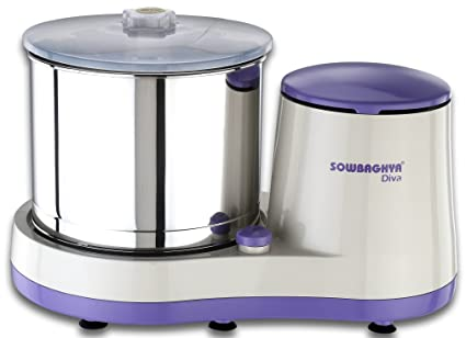 Sowbaghya 2 Lit Diva Wet Grinder (Violet with White) with Attachment