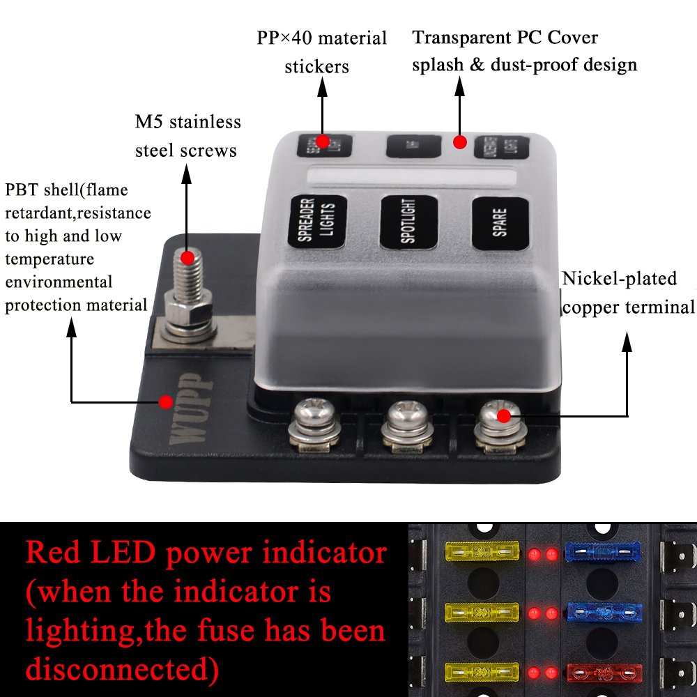 Boat Fuse Panel With Led Warning Indicator Damp Proof 12v 1 X 4 Way Blade Box Holder Cover St 6 Block For Car Marine Rv Truck Dc 12 24v Automotive