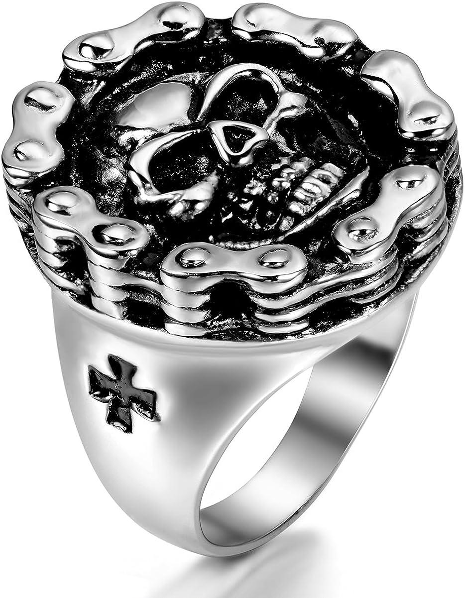 Jewelrywe anillo de hombre Mujer calavera acero de estilo gótico de la banda regalo para el hombre