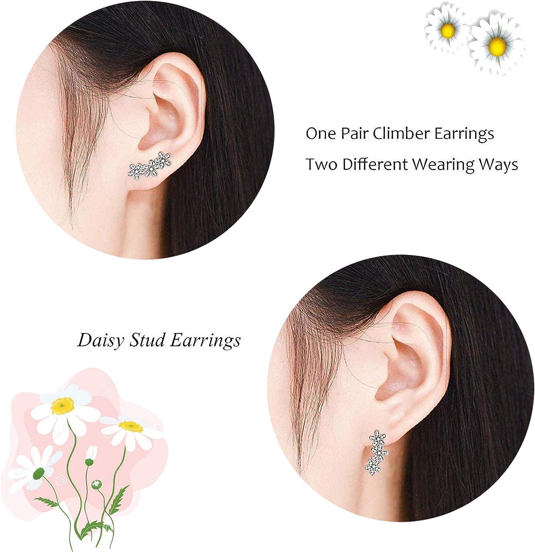 Silver Ear Climbers Daisy Earrings Ear Creepers Flower Climbers Ear Climbers
