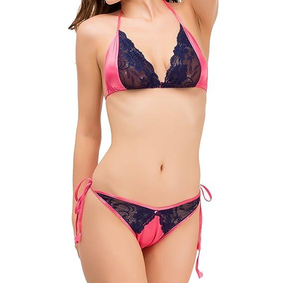 Melisa Blue Embroidered Free Size Satin Bra   Panty Set for Women ... 143542c81