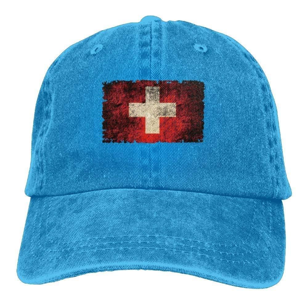 JTRVW Flag of Switzerland Tattered Adult Sport Adjustable Custom Casual Baseball Cowboy Hats
