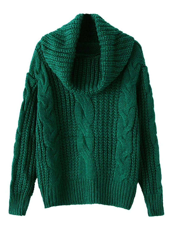 Gk2 Women's Long Sleeve Turtleneck Twist Knit Loose Sweater Pullover