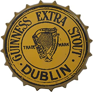Guinness Vintage Aluminum Bottle Cap Sign (Gold) - Metal Wall Decor
