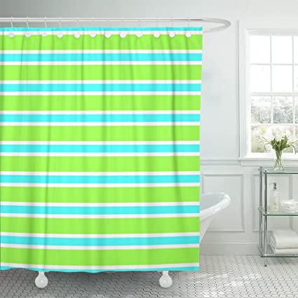 Emvency Shower Curtain Colorful Abstract Of Thin And Wide Stripes Blue White Bright Green Colors Beautiful