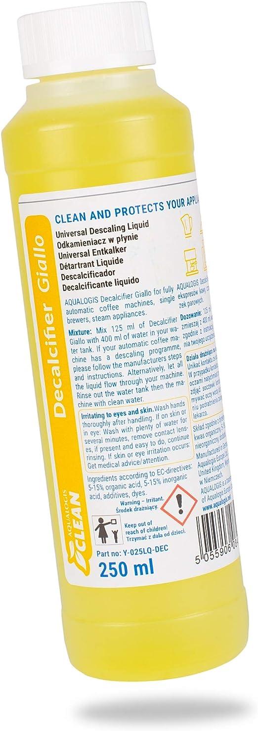 Aqualogis - Descalcificador para cafeteras Bosch Siemens Jura Krups Delonghi Saeco Giallo (250 ml): Amazon.es: Hogar