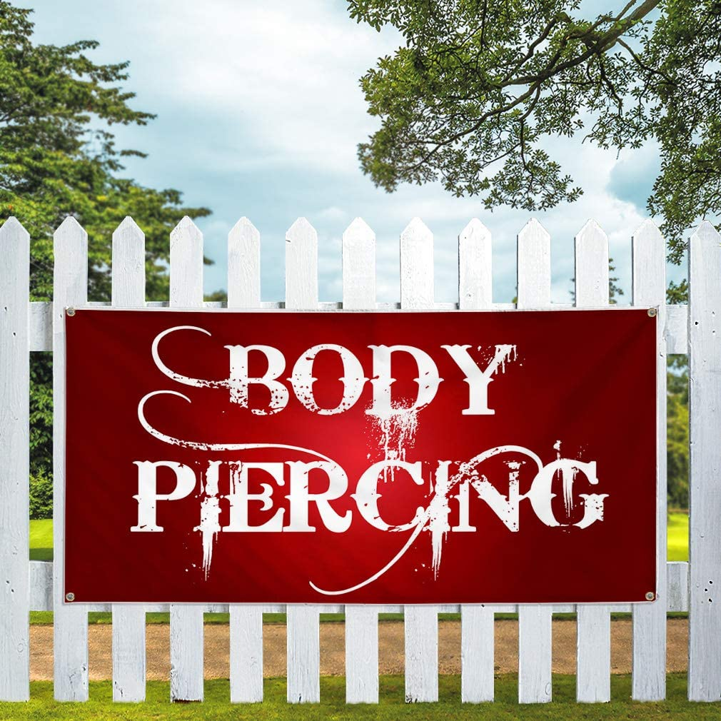Vinyl Banner Multiple Sizes Body Piercing Business I Beauty /& Fashion Outdoor Weatherproof Industrial Yard Signs Red 10 Grommets 60x144Inches