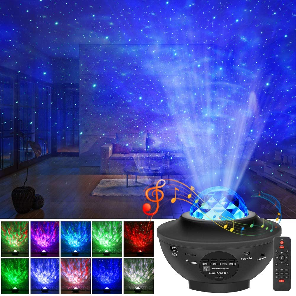 Star Projector, Ocean Wave Night Light Projector with Remote Control LED Nebula Cloud Projector Music Speaker Night Light Projector for Kids Adult Bedroom/Game Rooms/Home Theatre Ambiance Decor
