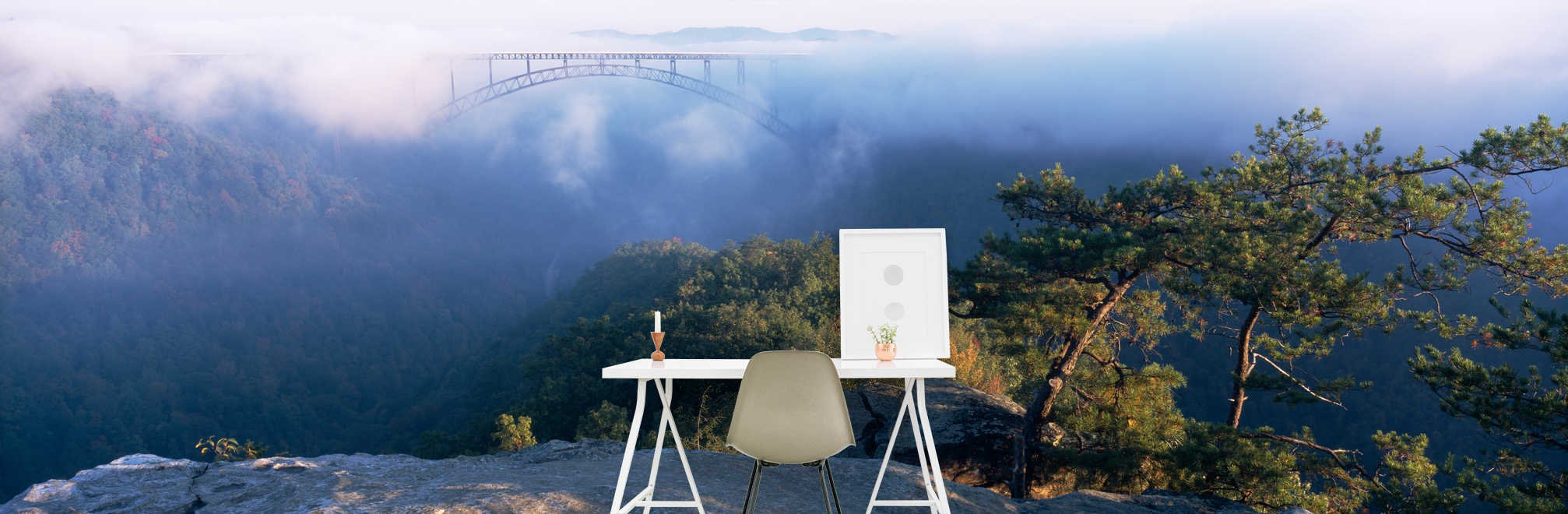 Clouds over a bridge, New River Gorge Bridge, Fayetteville, West Virginia, USA on Smooth Peel & Stick Decal Wallpaper by CustomWallpaper.com