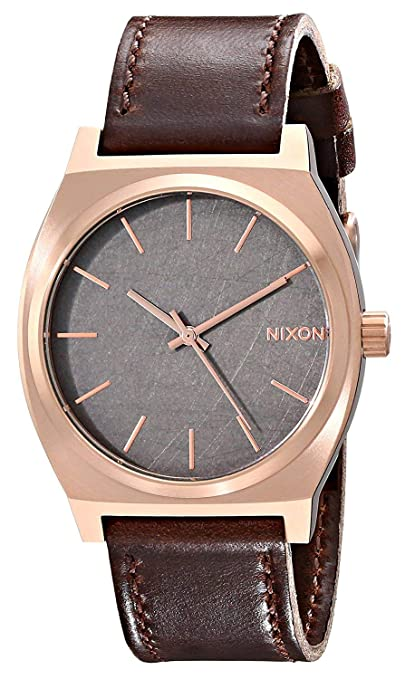 Amazon.com: Nixon Time Teller Leather (Rose Gold/Gunmetal/Brown): Nixon: Watches