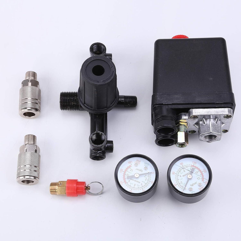 """4 Port Druckschalter Für Luftkompressor Kompressor Schalter Druckregler 240V1//4/"""""""
