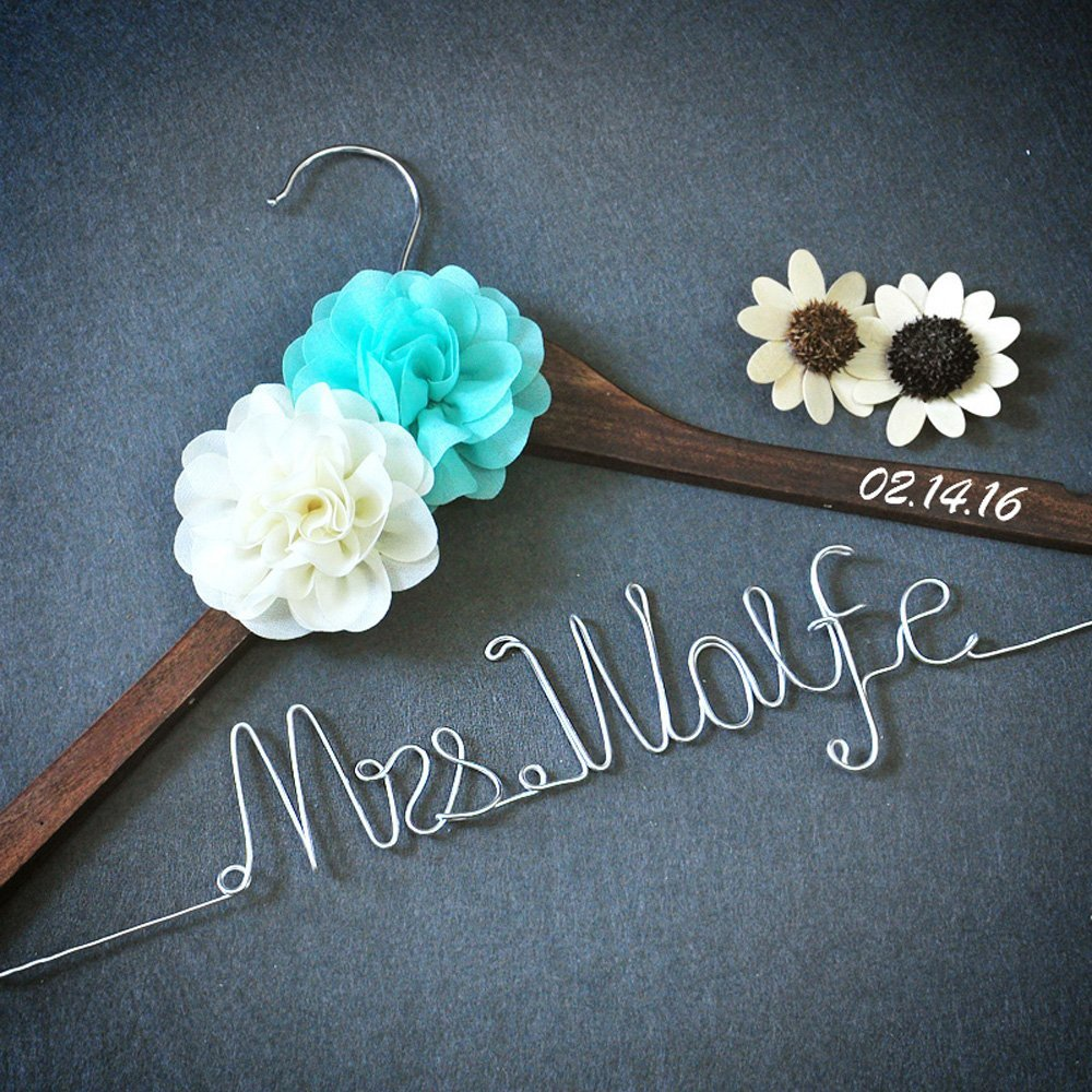 Custom Wedding Hanger Rustic Wedding Dress Hanger, Personalized Bridal Shower Gift, Wedding Hanger With Beautiful Flowers