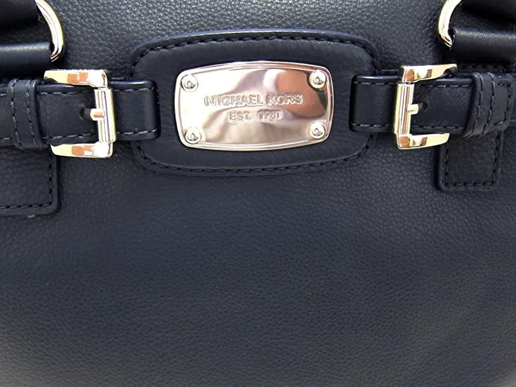 5645f9d1c864 Amazon.com: Michael Kors Hamilton Weekender Leather Handbag, Navy Blue:  Clothing