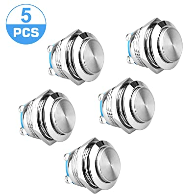 "Linkstyle 5-Pack 19mm Momentary Waterproof Push Button Metal Switch with High Round Cap for Car RV Truck Boat, 2 Pin SPST Stainless Steel AC 250V ON OFF Momentary Switch for 19mm 3/4"" Mounting Hole: Everything Else"