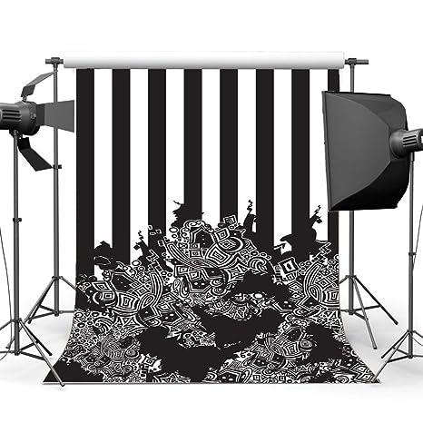 Vrupi 3x5ft 3d Toile Fond Noir Et Blanc Rayures Papier Peint