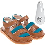 Little Blue Lamb - Girls Boys Childrens Toddler Leather Suede Squeaky Sandals Shoes Brown Turquoise - with Shoe Horn