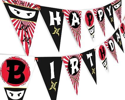 Ninja Happy Birthday Banner Pennant
