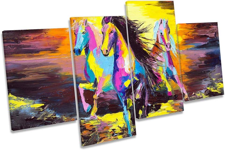 Canvas Geeks Cuadro de Caballos con diseño Moderno de Atardecer, Multicolor, Lienzo para Pared, 80cm Wide x 45cm High