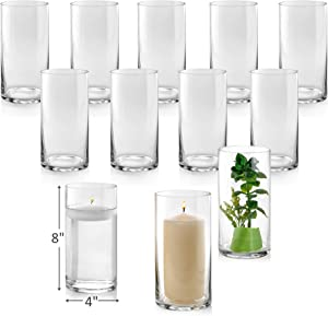 Set of 12 Glass Cylinder Vases 8 Inch Tall - Multi-use: Pillar Candle, Floating Candles Holders or Flower Vase – Perfect as a Wedding Centerpieces.