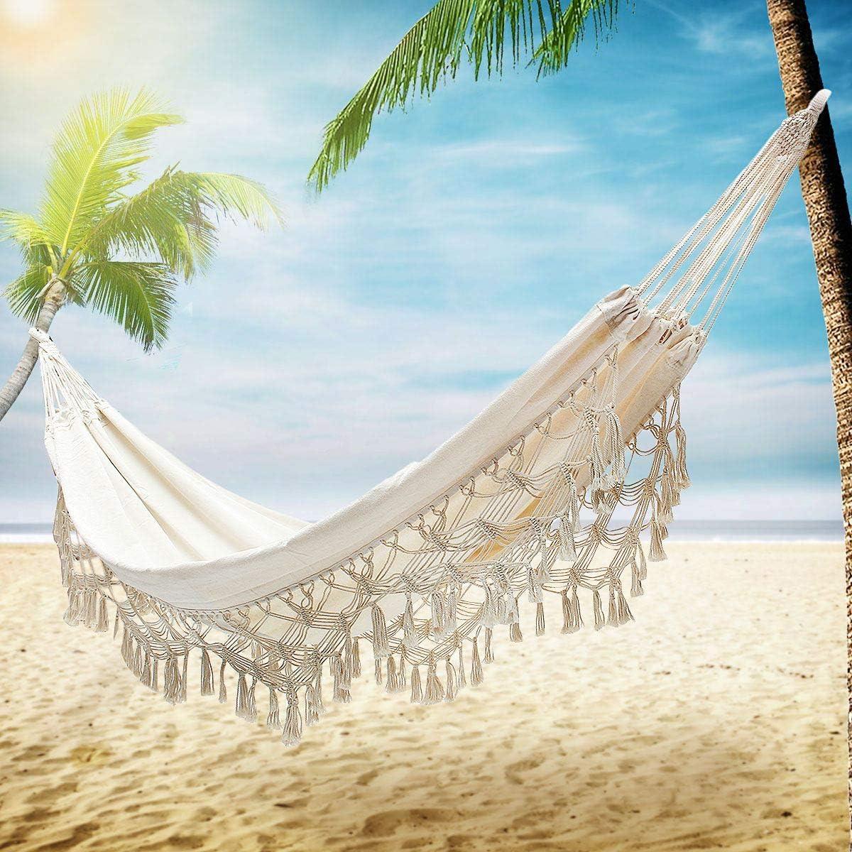 TMcom Hammock, Handmade Organic Cotton Classic Hammock Macrame Fringe Tree Hammocks Swing Bed for Camping,Beach,Bedroom, Patio,Patio, Porch, Outdoor,Indoor,Wedding Decor,Yard
