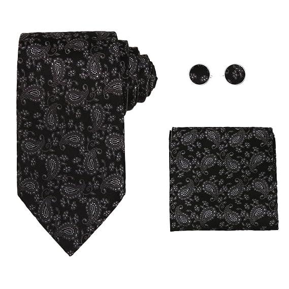 H6113 white floral fathers day gift ideas silk necktie cufflinks hanky Y/&G