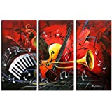 Noah Art-Modern Music Wall Art, 100% Hand Painted Musical Instruments Contemporary Abstract Oil Paintings On Canvas, 3 Panel Framed Inspirational Wall Art for Kids Room Wall Decor, 12x24inch x 3 Pcs